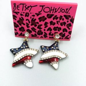 Betsey Johnson Stars and Stripes earrings, NWT